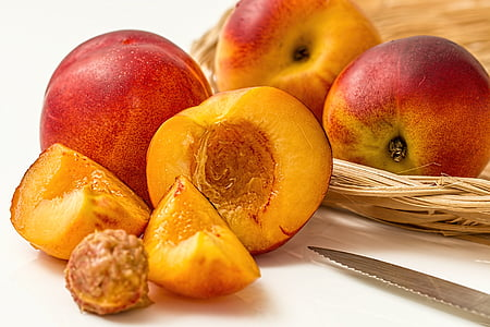 sliced peach fruit