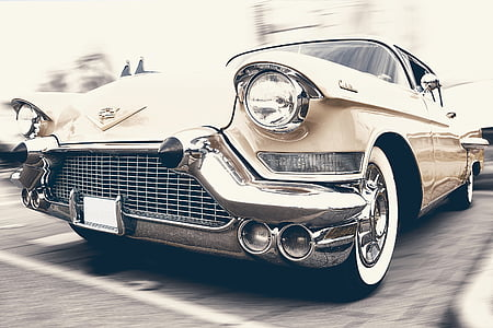 vintage white coupe car