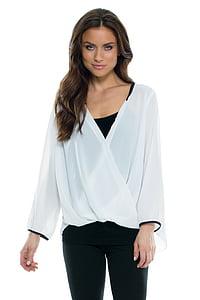 women's white surplice long-sleeved shirt