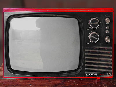 photo of vintage red and black Lavis CRT television