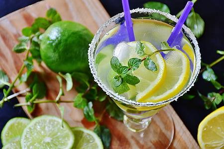 lemon juice on clear drinking glass