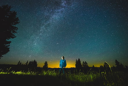 person stands on green grasses watching stars