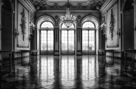 grayscale photo of empty hall