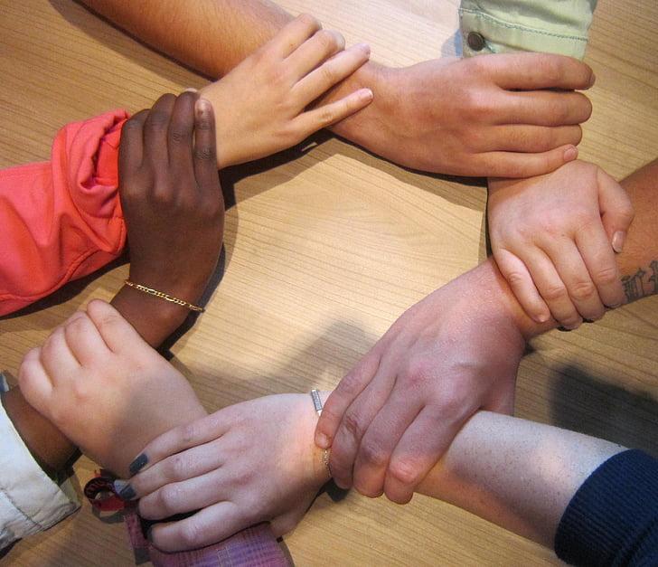 people holding wrists