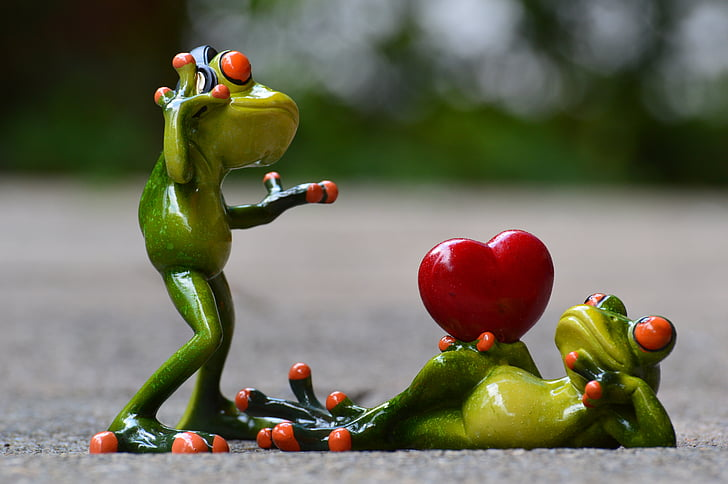 male and female frog figurine