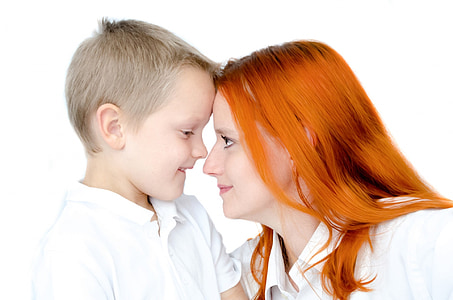 mother staring son photo