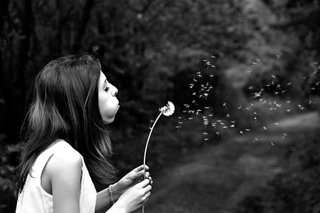 grayscale photography of woman blowing dandelion