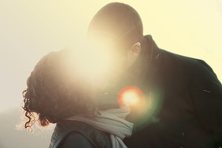 couple about to kiss photograph