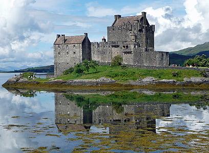gray castle on island