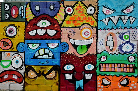 photography multicolored monster painting