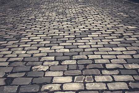 brown and gray brick flooring