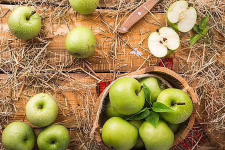 Green Apple on basket