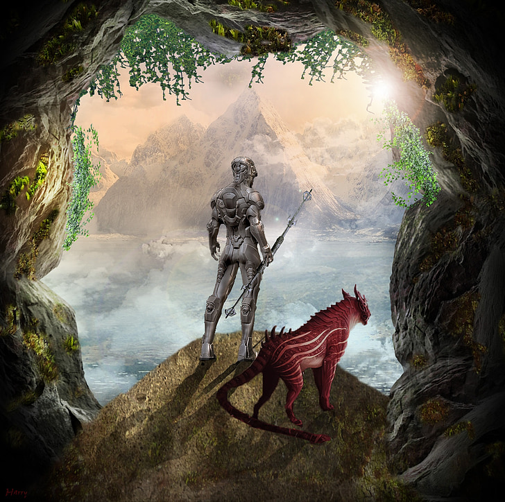 cyborg beside mythical creature standing on cave illustration