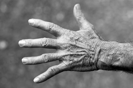 human left hand in grayscale photography