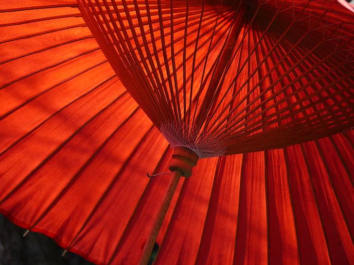 Red Paper Oil Umbrella Wallpaper