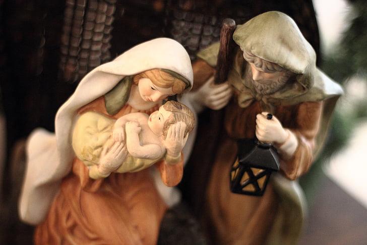 Joseph, Baby Jesus, and Mama Mary statue