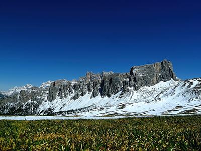 landscape photo of green grass field near rock mountain