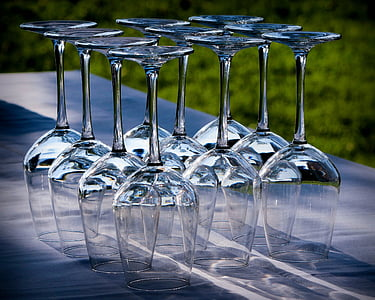 clear wine glass lot on gray surface