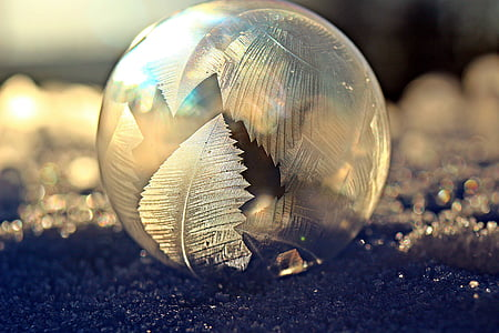 feather etched glass ball paperweight