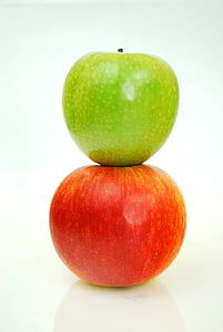 two green and red apple fruits photo
