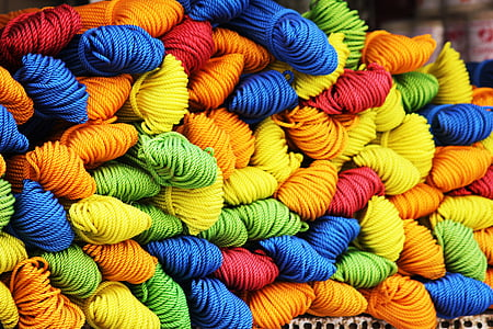 pile of assorted-color ropes