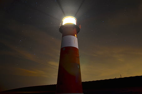 lighthouse during nighttime low angle photography