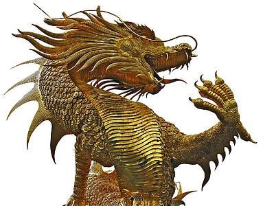 gold-colored dragon statue