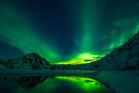 green Northern light sky