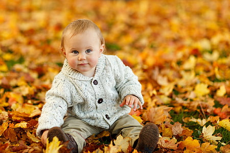 boy sitting in dried leaves
