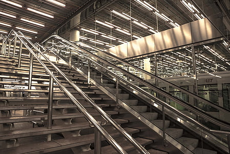 gray stainless steel stairs