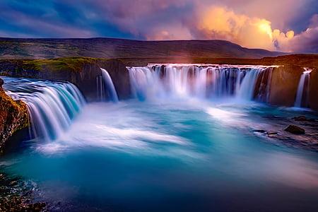time lapse of waterfalls
