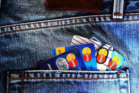 Mastercard on denim pocket