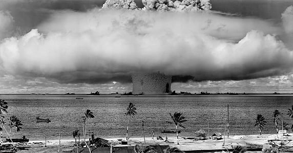 grayscale photography of explosion in water