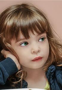 girl with green eyes wearing black zip-up jacket