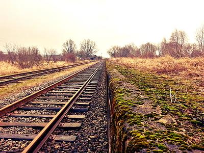 brown trail rail beside green grass field