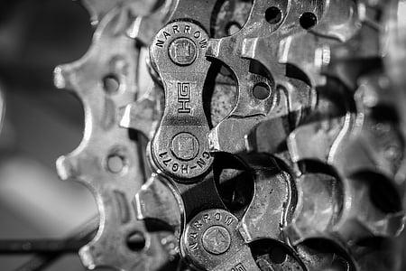 shallow focus of gray steel gears