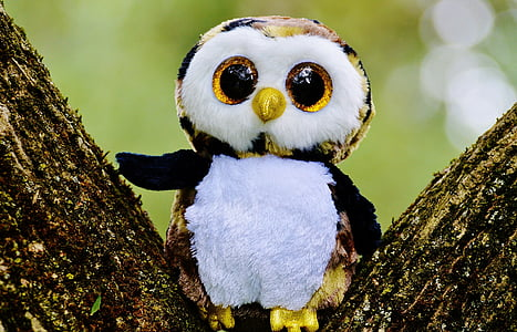 shallow focus photography of white and yellow owl plush toy