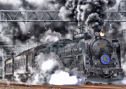 grayscale of train with smoke