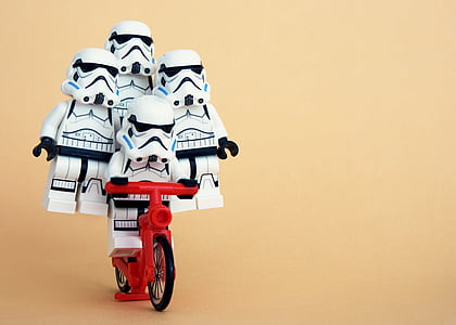 Storm Troopers riding bike illustration