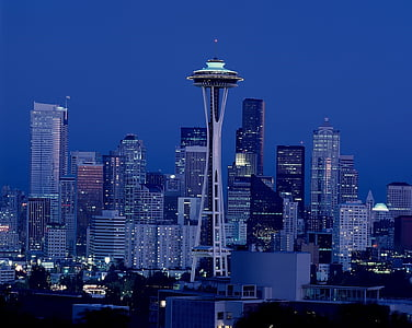 Space Needle Tower in Seattle at night time