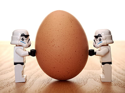 photo of Stormtroopers holding organic egg