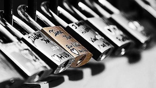 selective photography of a padlock