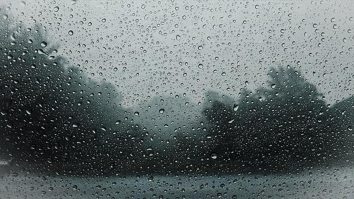 windshield with raindrops