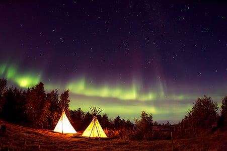 landscape view of aurora during night time