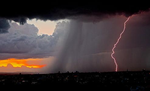 rain and lightning bolt at city
