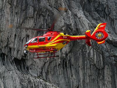 red and yellow helicopter