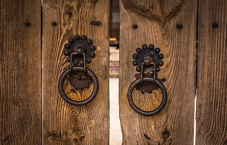 round brown steel door locks