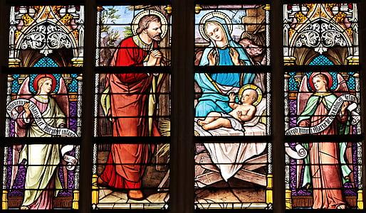 The Birth of Jesus Tiffany glass