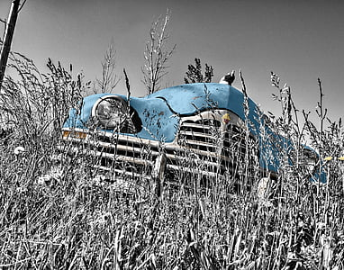 selective color photography of classic blue car