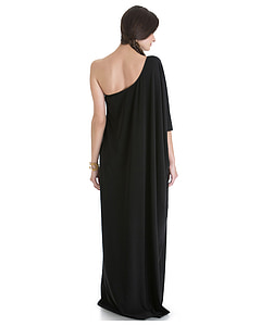 women in black one-shoulder dress